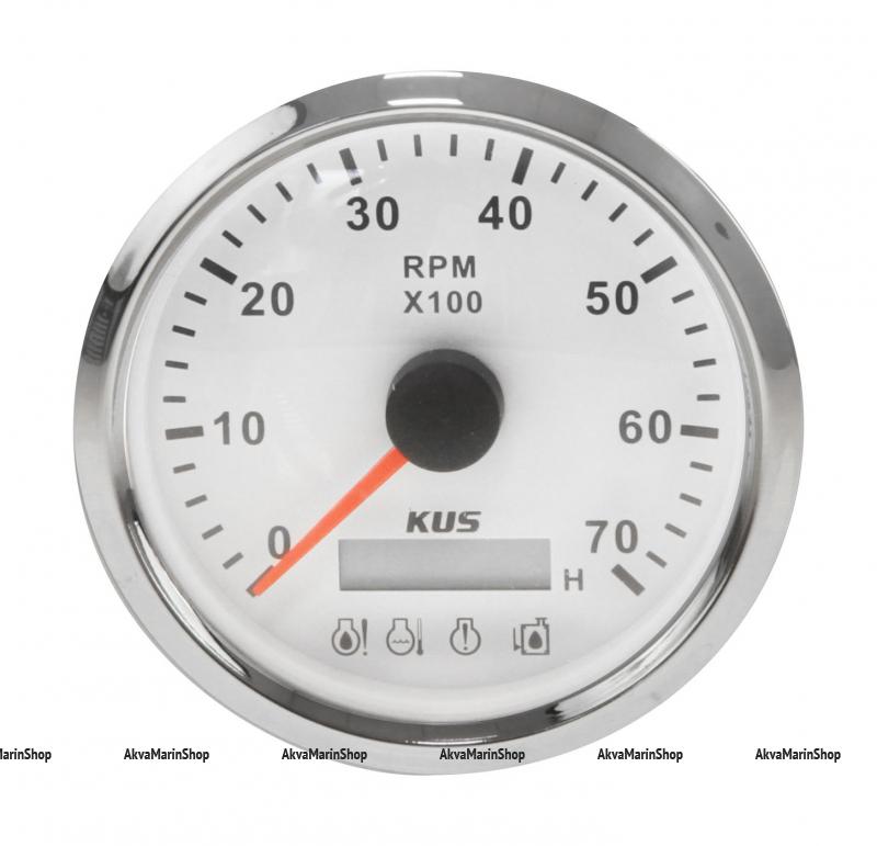 Тахометр белый с нержавеющим ободком со счётчиком моточасов и аварийной сигнализацией 7000 обоборотов KUS Арт VDNJMV00254_KY07123