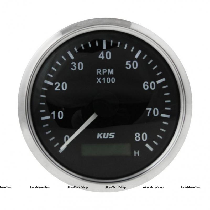 Тахометр черный с нержавеющей окантовкой со счётчиком моточасов 8000 оборотов KUS Арт VDNJMV00248_KY07003