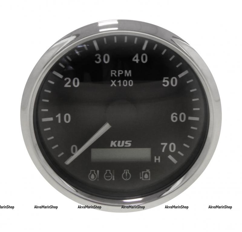 Тахометр черный с нержавеющей окантовкой со счётчиком моточасов и аварийной сигнализацией на 7000 оборотов KUS Арт VDNJMV00253_KY07046