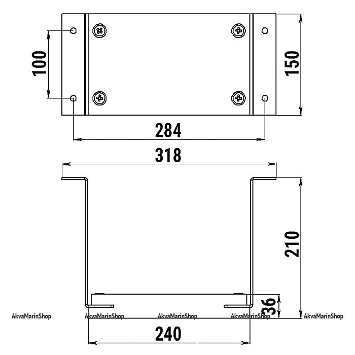 Транец для подвесного мотора до 12 л.с. на вертикальную поверхность Арт Tm 040411T