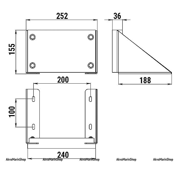 Транец для подвесного мотора до 12 л.с. на горизонтальную поверхность Арт Tm 040413T