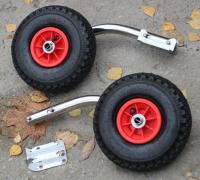 Транцевые колеса быстросъемные с кронштейнами из нержавеющей стали с креплением на 4 болта Арт MS