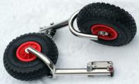 Транцевые колеса быстросъемные с вилкой с кронштейнами из нержавеющей стали с креплением на 4 болта Арт MS