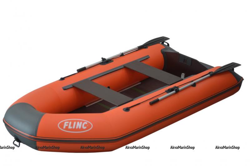 Трехместная надувная лодка с килем и жестким дном FLINC FT290К