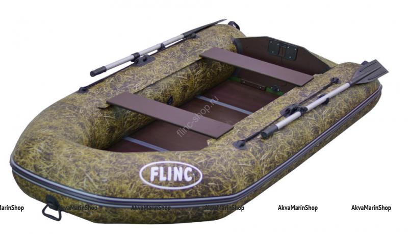 Трехместная надувная лодка с надувным кильсоном и жестким дном FLINC FT320К