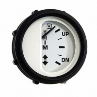 Трим-указатель для Johnson/Evinrude/Suzuki белый циферблат/черный ободок, 12/24V, Ø52мм (UFLEX, США) Арт Akva 1202