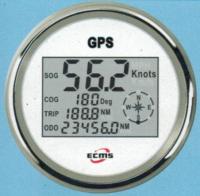 Цифровой GPS-спидометр с белым циферблатом и нержавеющим ободком с выносной антенной ECMS Арт Skipper 900-00031