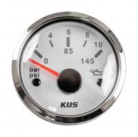 Указатель давления масла 0-10 бар с белым циферблатом нержавеющий ободок, д. 52 мм KUS Арт VDNKY15103