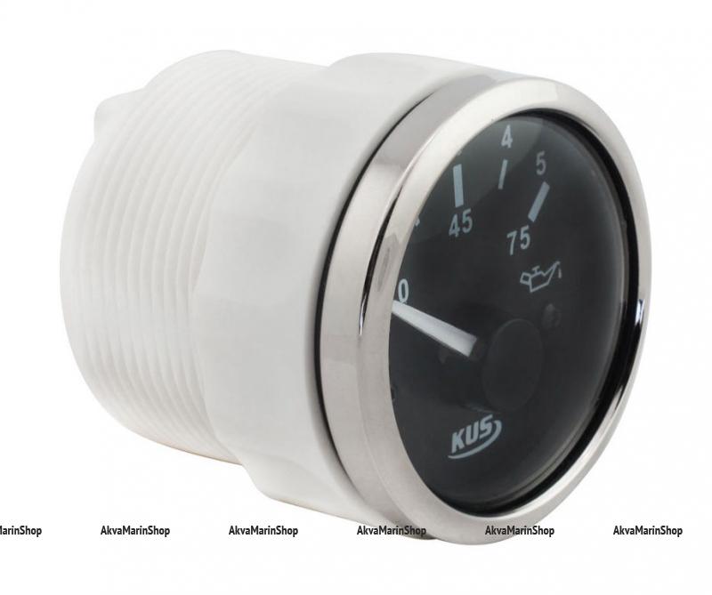 Указатель давления масла 0-5 бар черный с нержавеющим ободком 12/24V KUS Арт VDNJMV00308_KY15000
