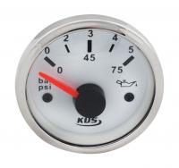 Указатель давления масла 0-5 бар с белым циферблатом нержавеющий ободок д. 52 мм KUS Арт VDN JMV00309_KY15100