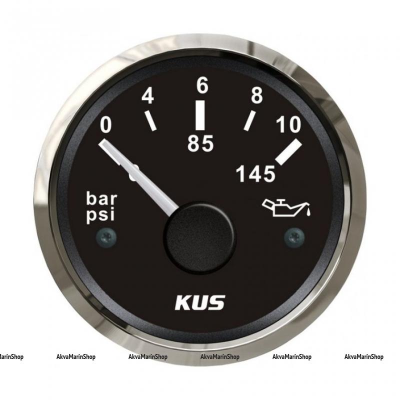Указатель давления масла черный с нержавеющей окантовкой 12/24V KUS Арт VDNJMV00721_KY15006