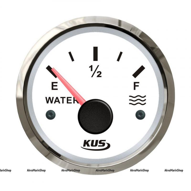 Указатель уровня пресной воды 0-190 Ом (ЕВРО) с белым циферблатом и нержавеющим ободком д. 52 мм KUS Арт VDNJMV00270_KY11100