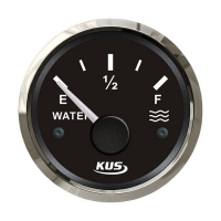 Указатель уровня пресной воды 0-190 Ом (ЕВРО) с черным циферблатом и нержавеющим ободком д. 52 мм KUS Арт VDNJMV00269_KY11004
