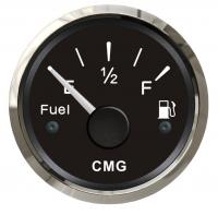 Указатель уровня топлива, чёрный со стальной окантовкой 52 мм Арт CMG 510010