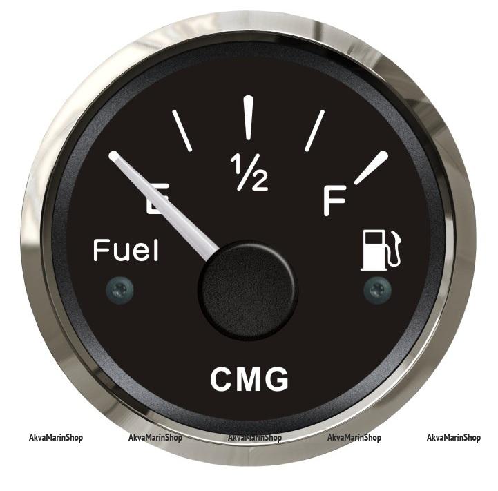 Указатель уровня топлива чёрный с нержавеющей окантовкой 52 мм WEMA Арт CMG 510010
