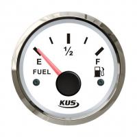 Указатель уровня топлива с белым циферблатом и нержавеющим ободком KUS д. 52 мм 0-190 Ом (ЕВРО) Арт VDNJMV00266_KY10100